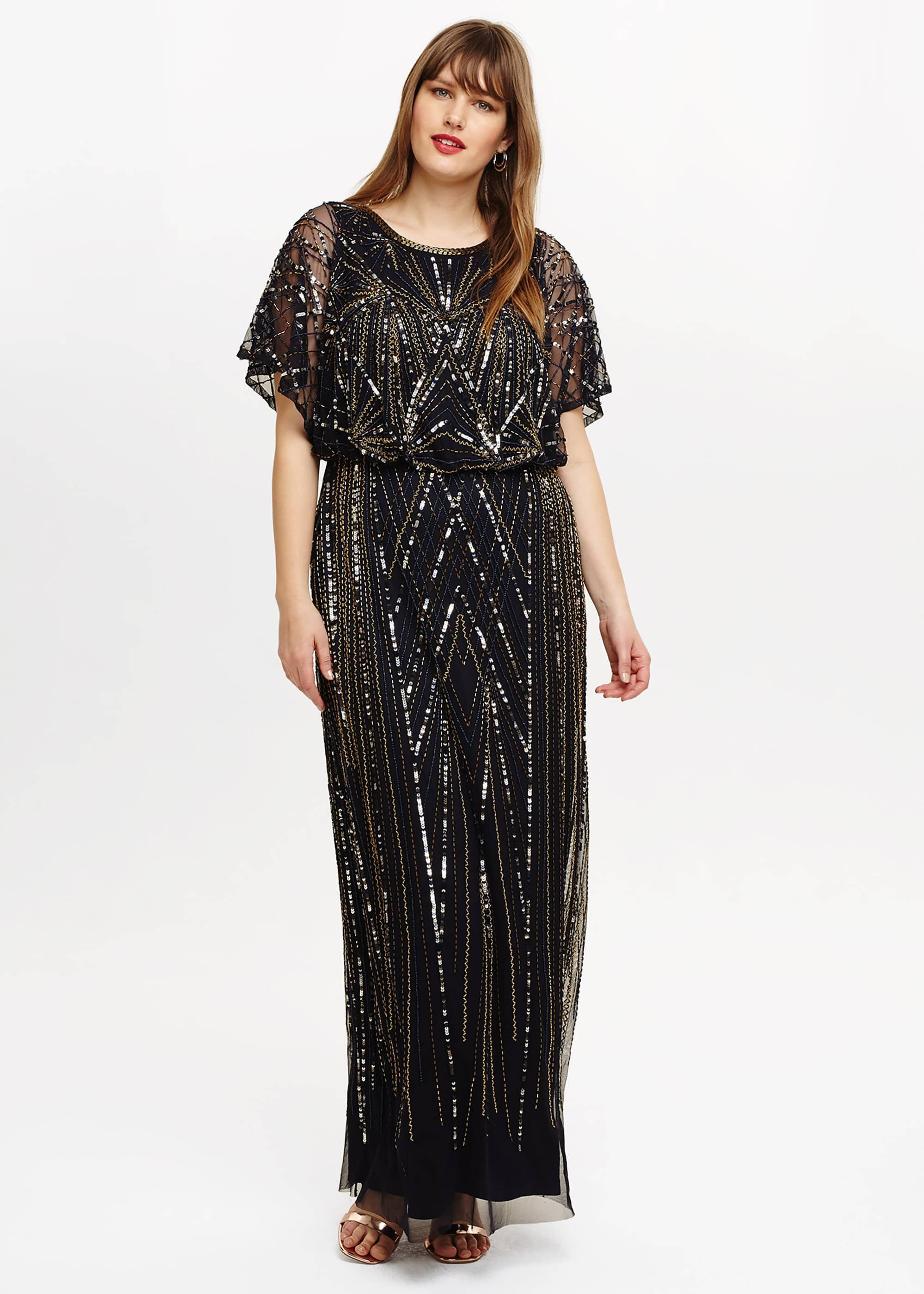 Black 70s Sequin Party Dress Plus Size Beaded Maxi Dress Plus Size Flapper Dress Plus Size Retro Dresses [ 2800 x 2000 Pixel ]