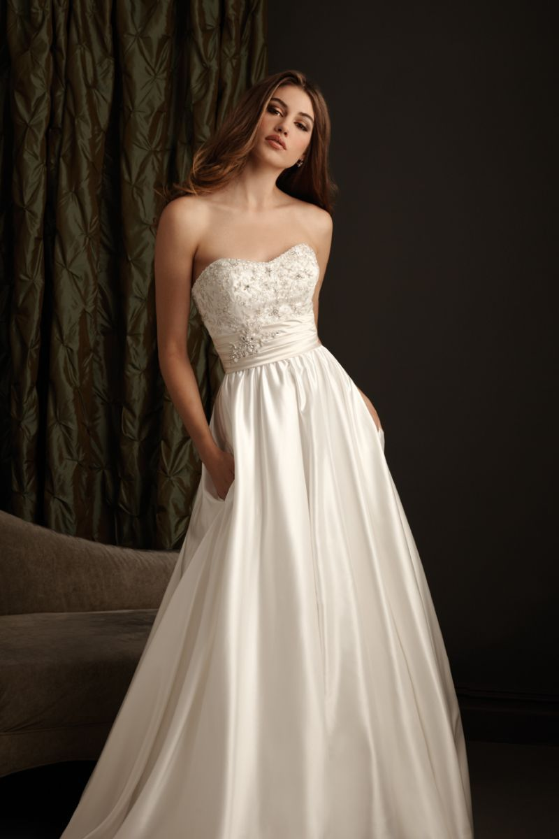 Allure wedding dress  White Satin Style  Traditional Wedding Dress  Wedding Thoughts