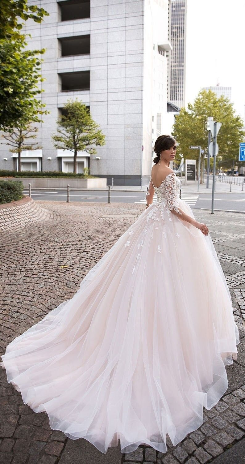 Vestidos De Noivas Baby Pink Wedding Dress Off The Shoulder Long Sleeve Bridal Gown Wedding Dresses Pink Wedding Dresses