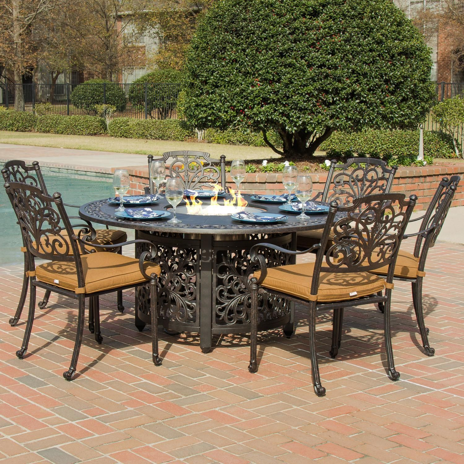 lakeview outdoor designs evangeline cast 6 person patio dining set