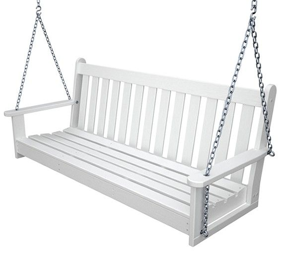 Polywood Vineyard 5ft Recycled Plastic Porch Swing Porch Swing White Porch Porch