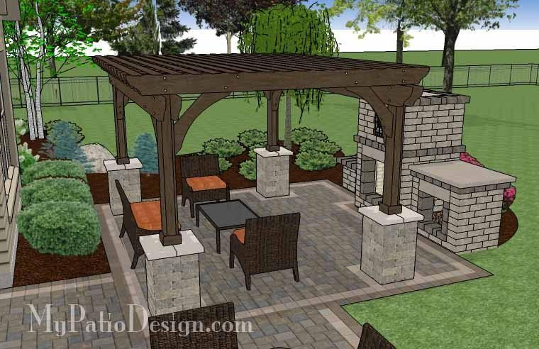 Simple Patio Design with Pergola, Fireplace and Grill Station - 630 sq. ft. - Simple Patio Design With Pergola, Fireplace And Grill Station - 630