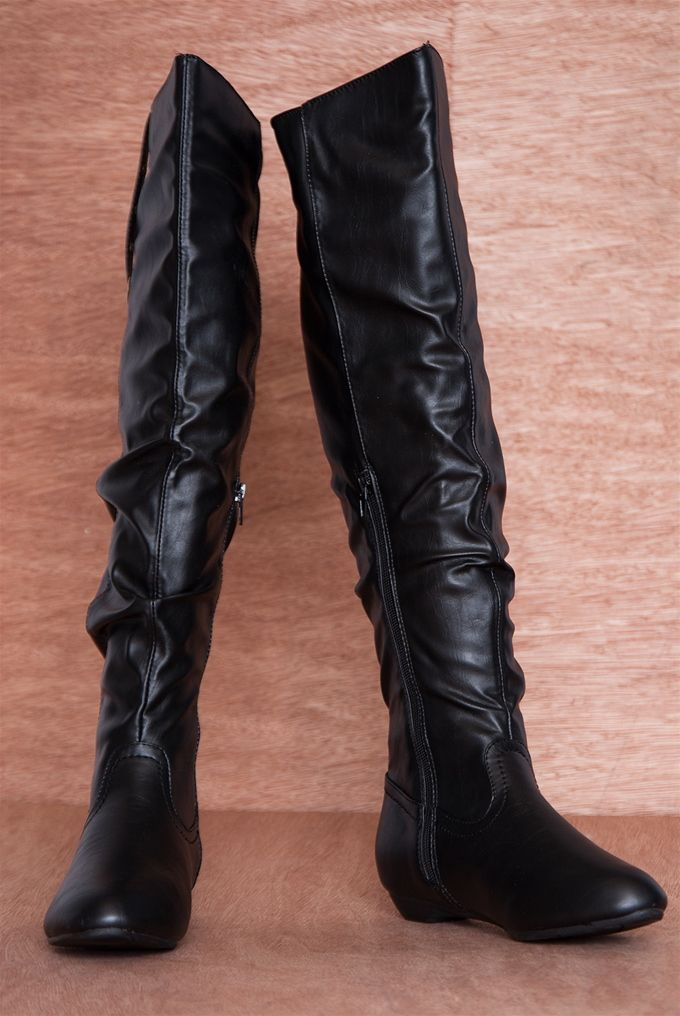 Come and Grommet Strappy Over the Knee Ruched Boots 18-096 - Black