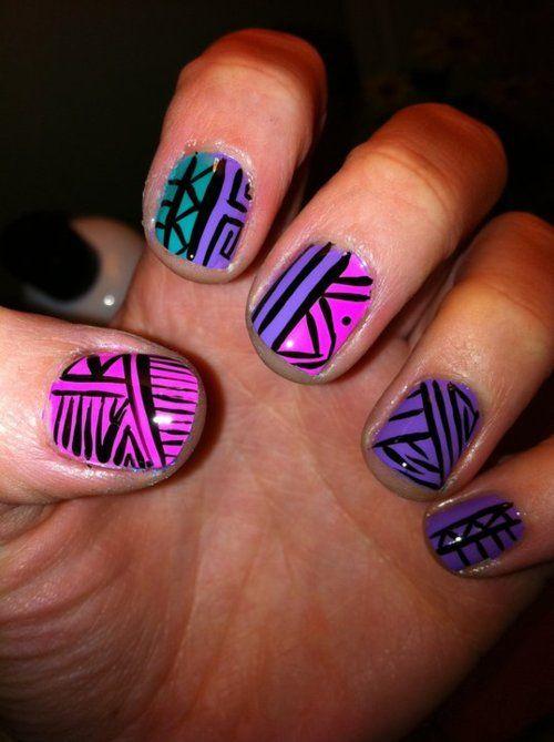 Purple And Pink Tribal Nail Art Pinterest