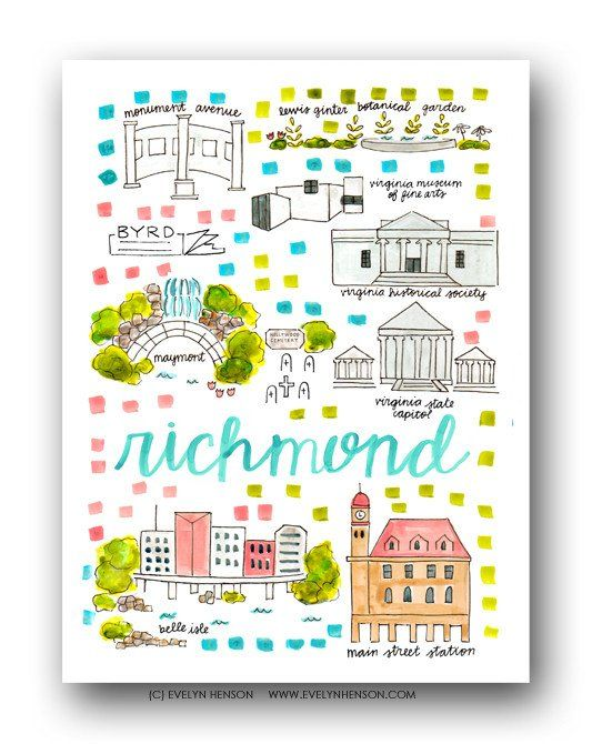 Richmond Map Print by Evelyn Henson maps Pinterest Travel maps