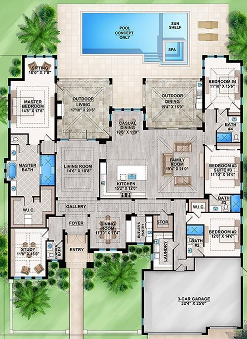 Awesome 4 Bedroom Dream House Plans Part - 9: House Plan 207-00025 - Coastal Plan: 4,124 Square Feet, 4 Bedrooms, 4.5  Bathrooms | House, Future And Dream House Plans