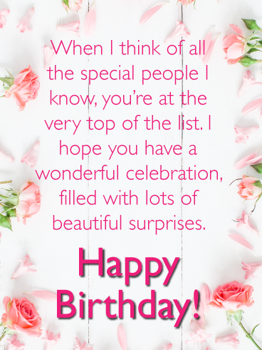Lots Of Beautiful Surprises Happy Birthday Card For Her Birthday Greeting Cards By Davia Spiritual Birthday Wishes Funny Happy Birthday Wishes Special Happy Birthday Wishes