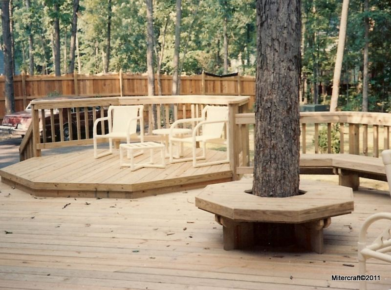 Garden Ideas On Two Levels pressure treated two level deck with standard and tree benches