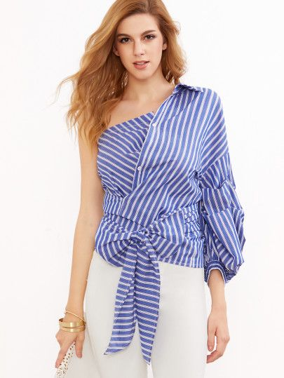 9553b33598cb24 Blue Striped One Shoulder Wrap Around Button Down Top