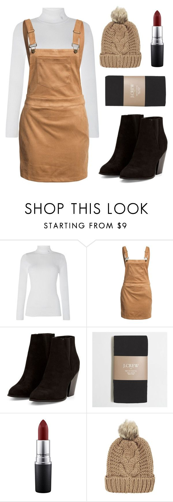 """""""Chic"""" by lovedreamfashion ❤ liked on Polyvore featuring Lauren Ralph Lauren, Glamorous, J.Crew, MAC Cosmetics, Chicnova Fashion, skirt, Boots, beanie and overall"""