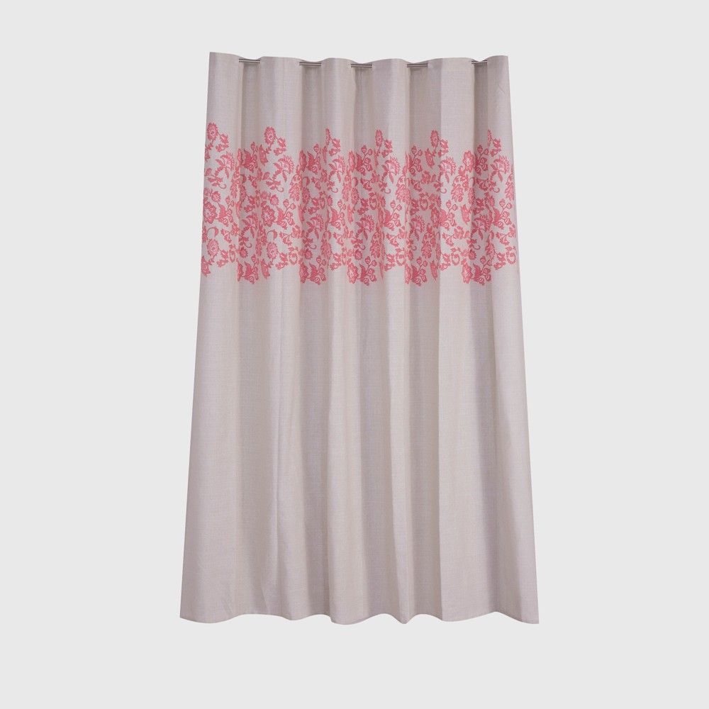 Leaf Printed Shower Curtain Coral Pink - Threshold ...
