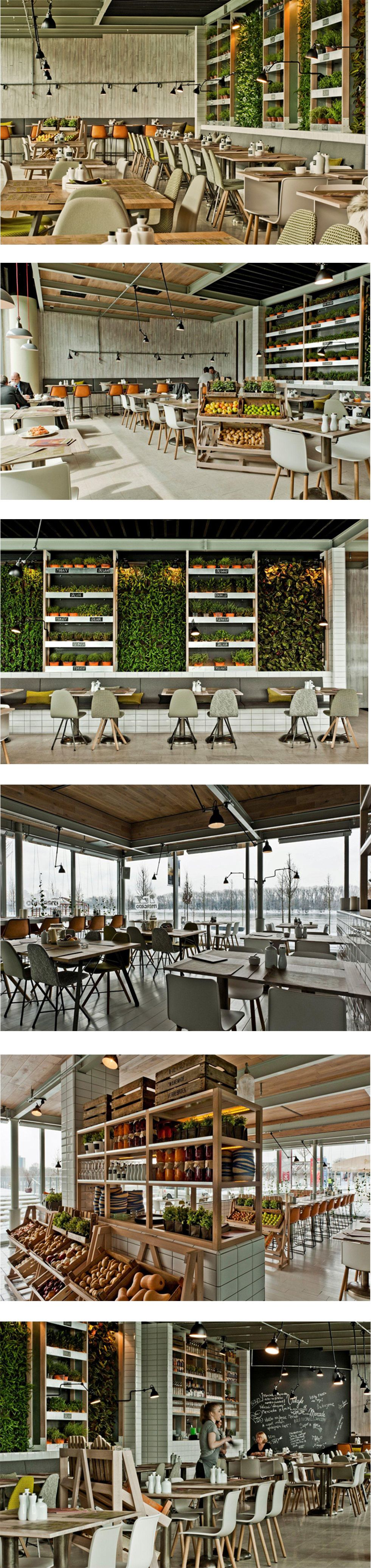mercado, restaurant interior style, plants, decoration, warm style
