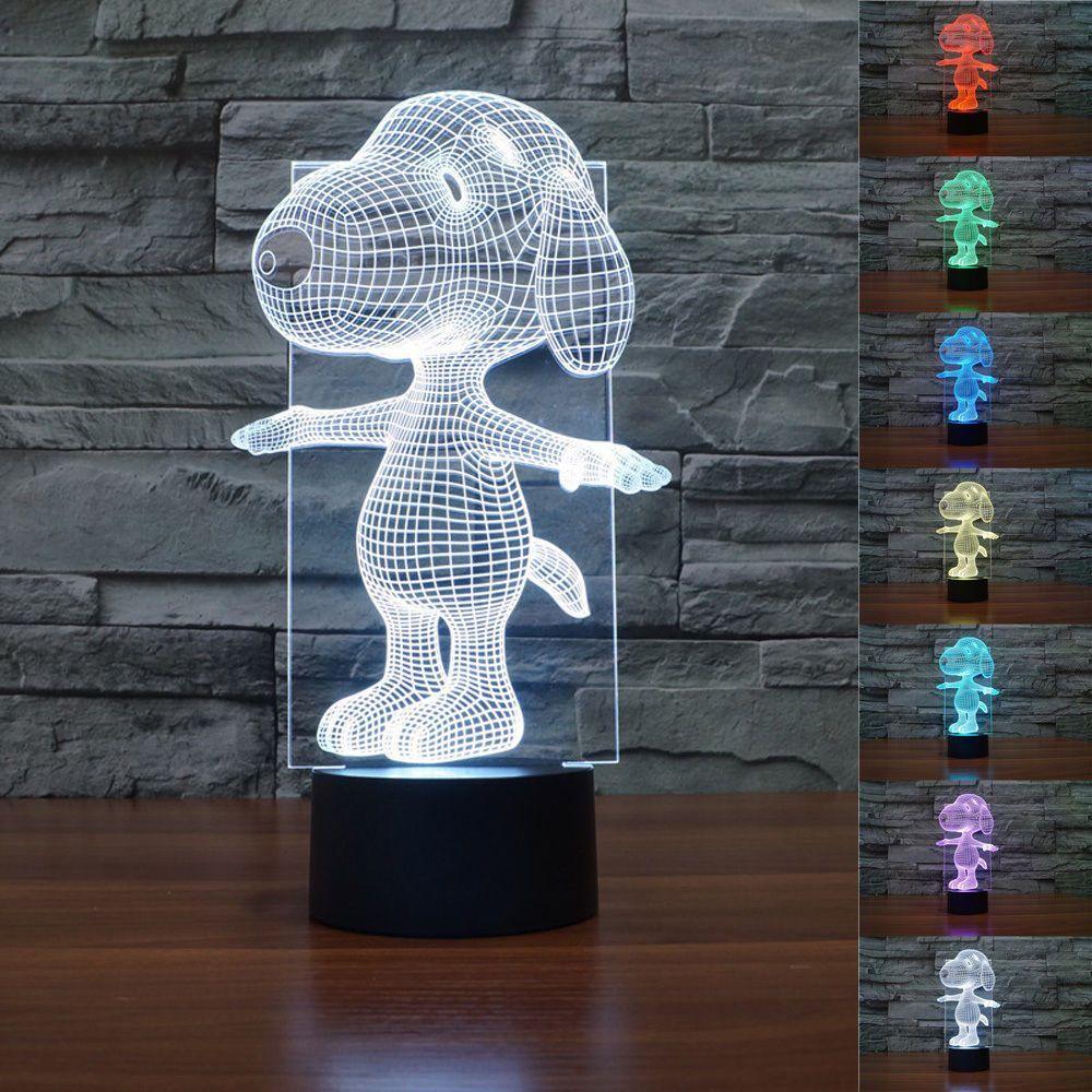 Snoopy Dog Puppy 3D LED Night Light 7 Color Change LED