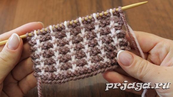 модели двухцветного вязания спицами