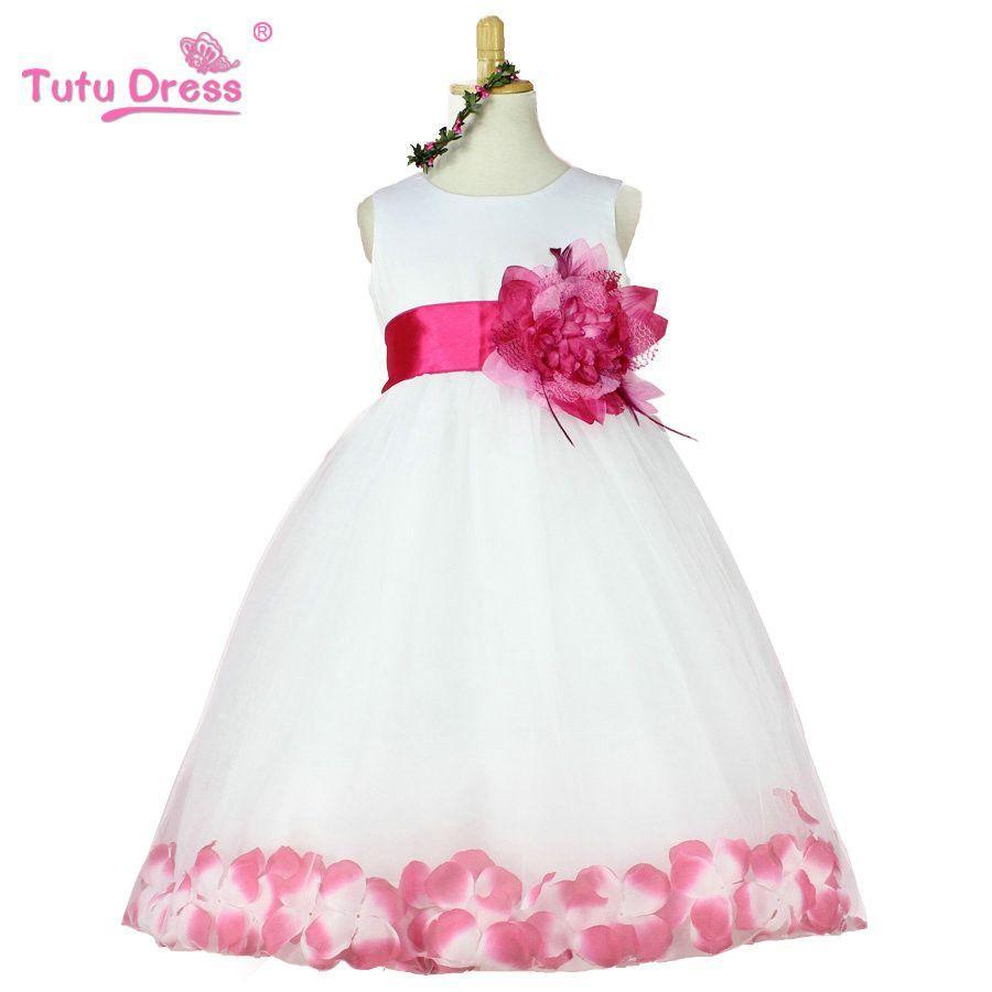 girls bridesmaid dress rose petal hem cute princess tutu dress