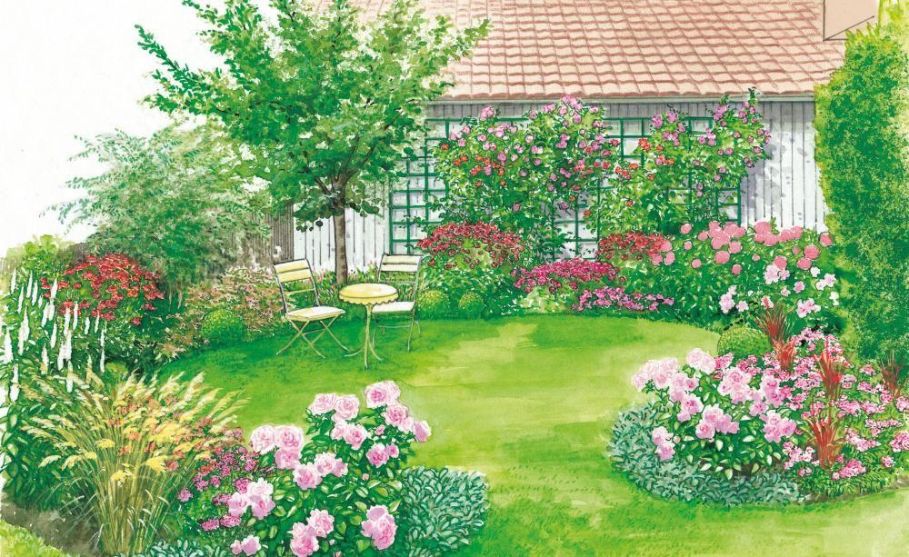 Bunter Rahmen für den Rasen bunte Rahmen, Rasen und Rahmen - garten gestalten vorher nachher