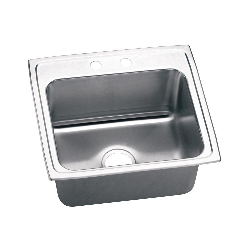 Elkay Lustertone Drop In Stainless Steel 22 In 2 Hole Single Bowl Kitchen Sink With 10 In Bowl Silver Single Bowl Kitchen Sink Sink Stainless Steel