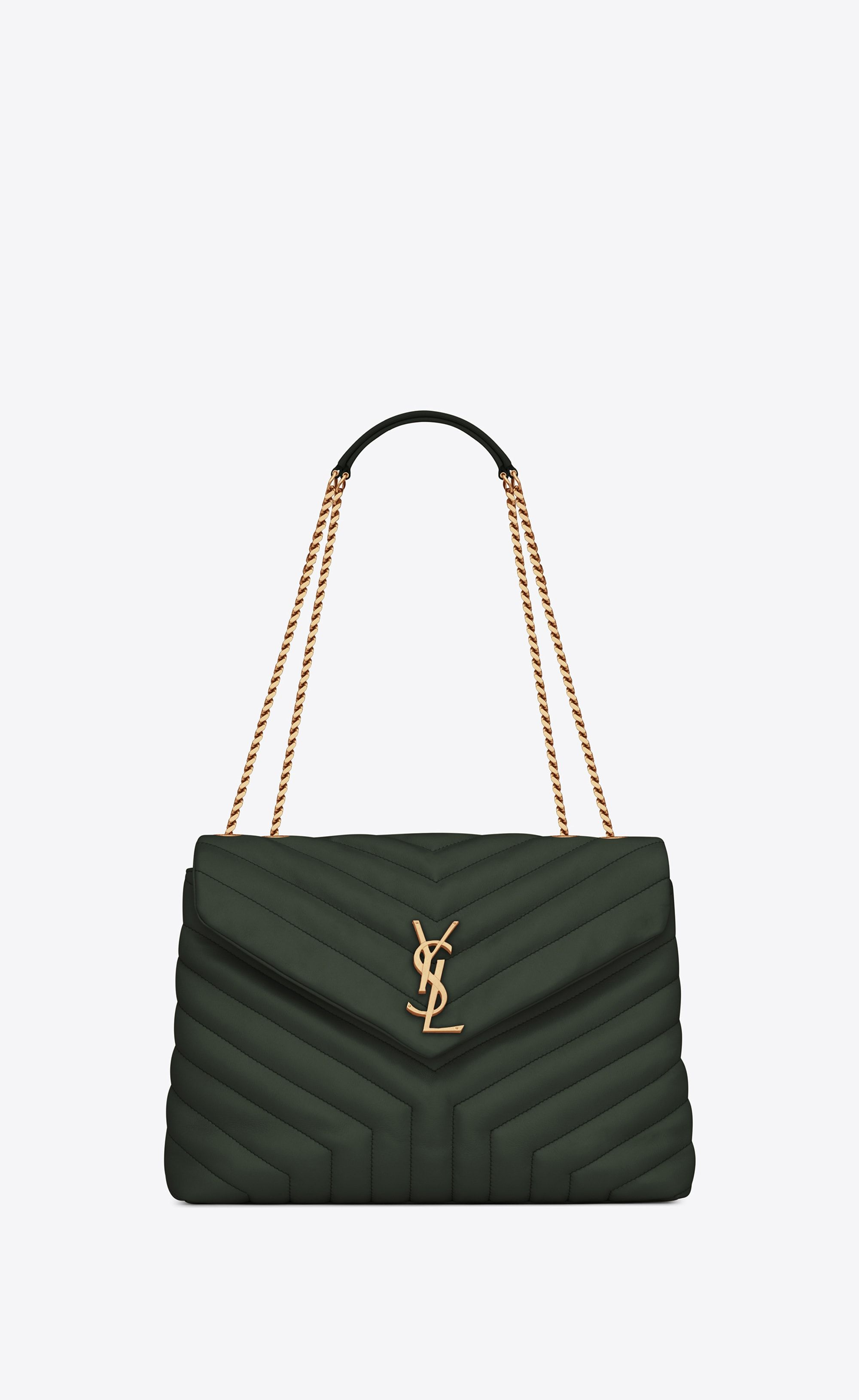 "Saint Laurent Medium Loulou Chain Bag In ""Y"" Quilted Dark Green Leather    YSL.com e38cdc6028"