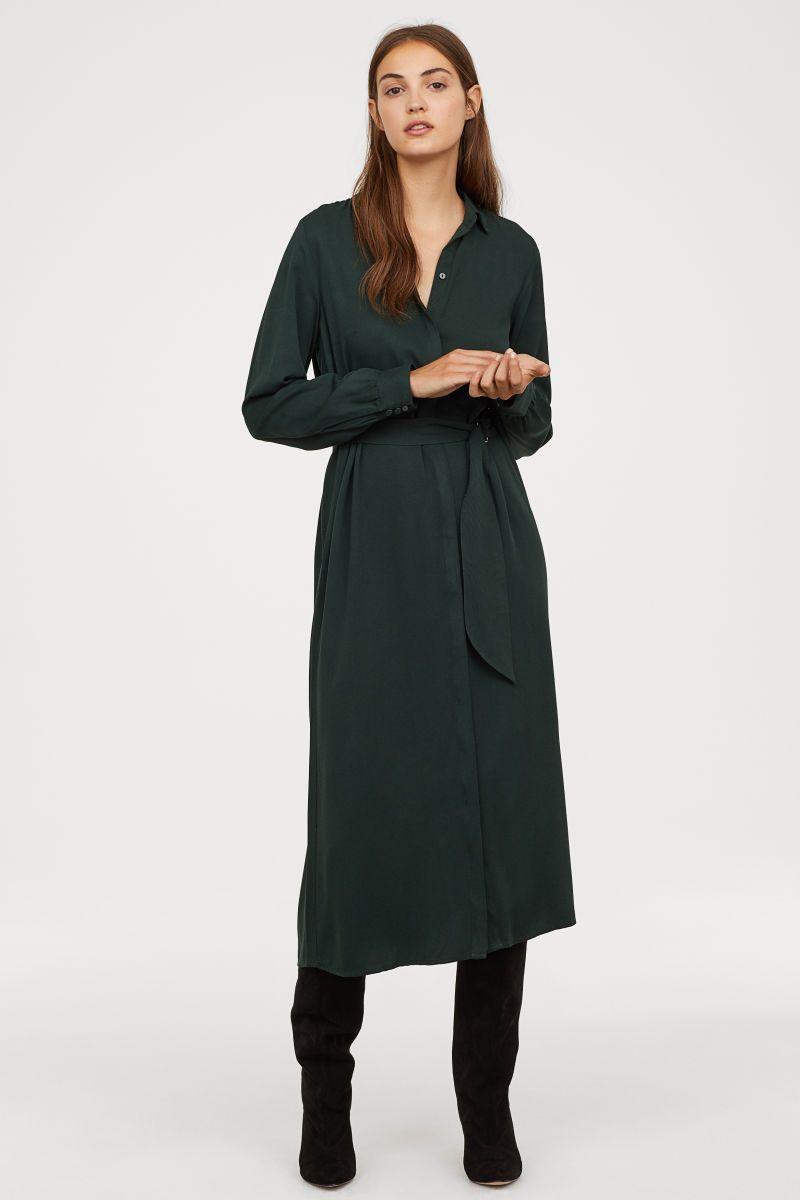 wadenlanges blusenkleid | dunkelgrün | damen | h&m de