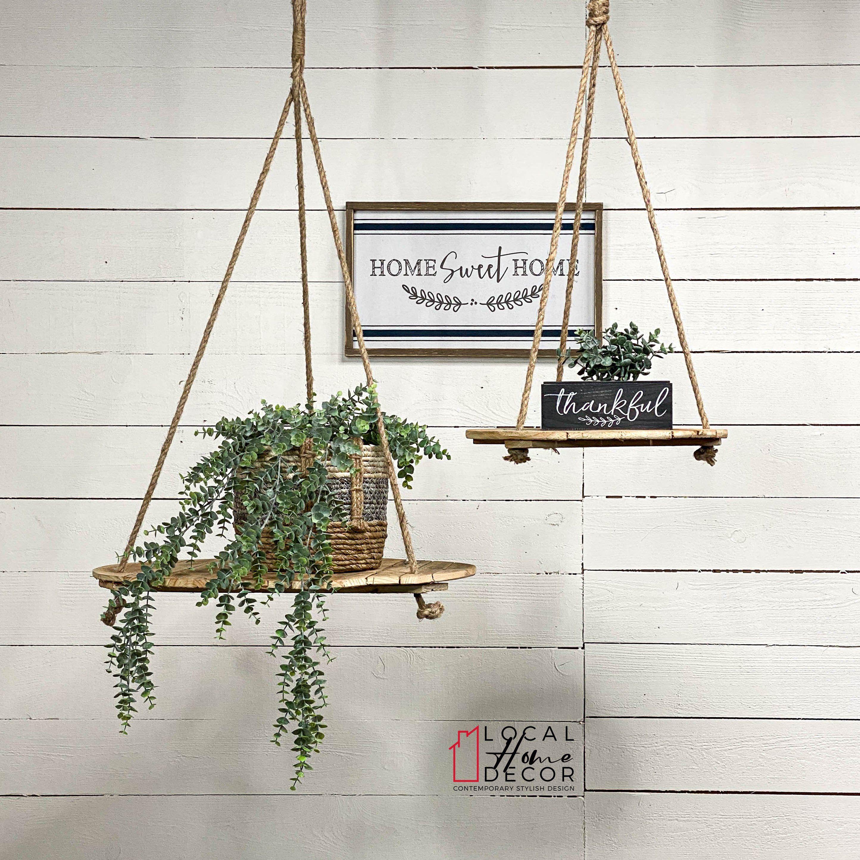 2 Repurposed Wood With Rope Hangers