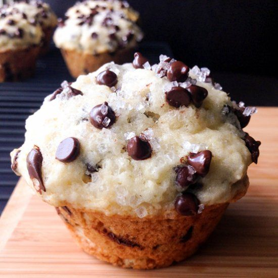 Big, buttery, fluffy Chocolate Chip Muffins. Skip the bakery and make these instead!