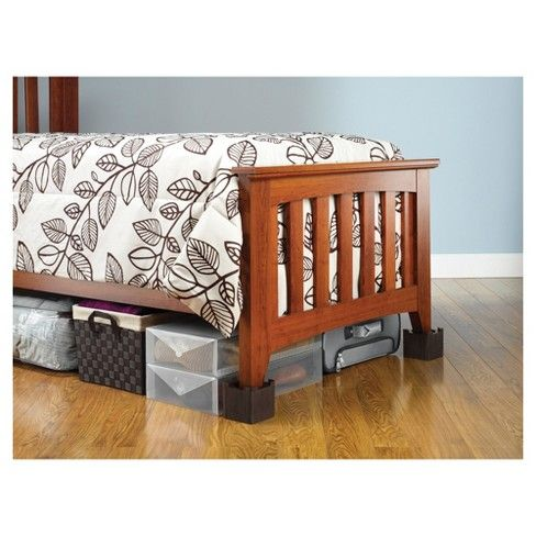 Best Whitmor Wood Bed Risers Set Of 4 Espresso Wood Bed 400 x 300