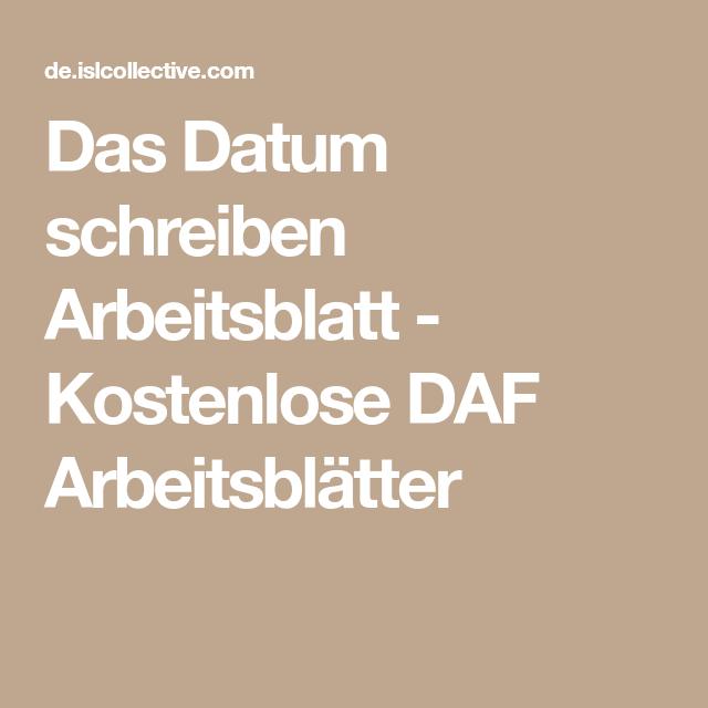 Das Datum schreiben Arbeitsblatt - Kostenlose DAF Arbeitsblätter ...