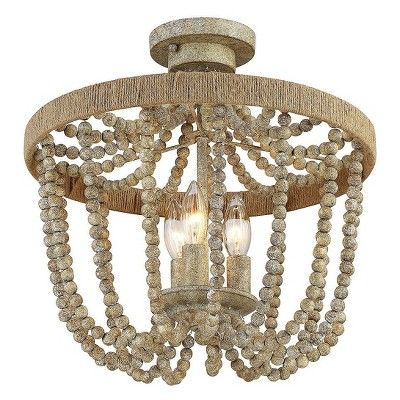 Natural wood with rope semi flush mount ceiling lights set of 3 filament design ceiling lights ceilings and woods