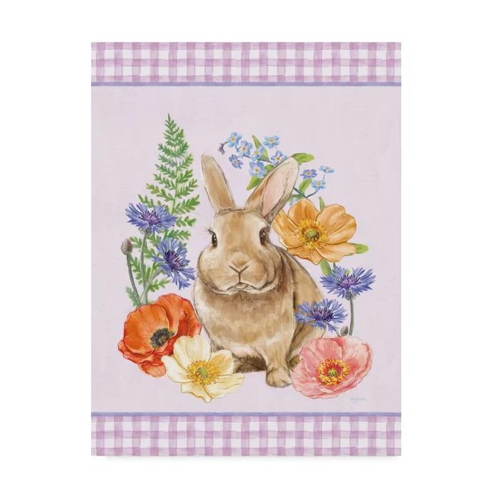 Sunny Bunny Ii Checker Border Purple Acrylic Painting Print On Wrapped Canvas Purple Canvas Art Art Wrapped Canvas Art