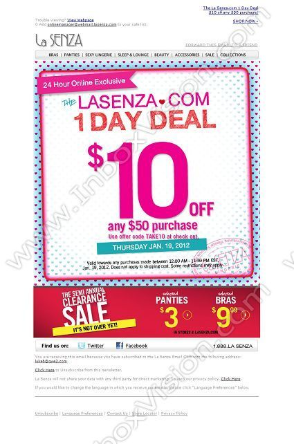 Brand - La Senza (US) Subject Dot Com 1 Day Deal $10 off$50 - example of a coupon