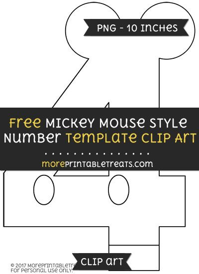 Free Mickey Mouse Style Number  Template  Clipart  Mickey Mouse