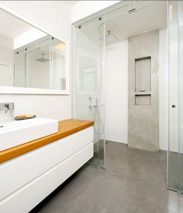 Encimera de lavabo y ducha de obra ideas ba o bathroom for Encimera de concreto encerado bano