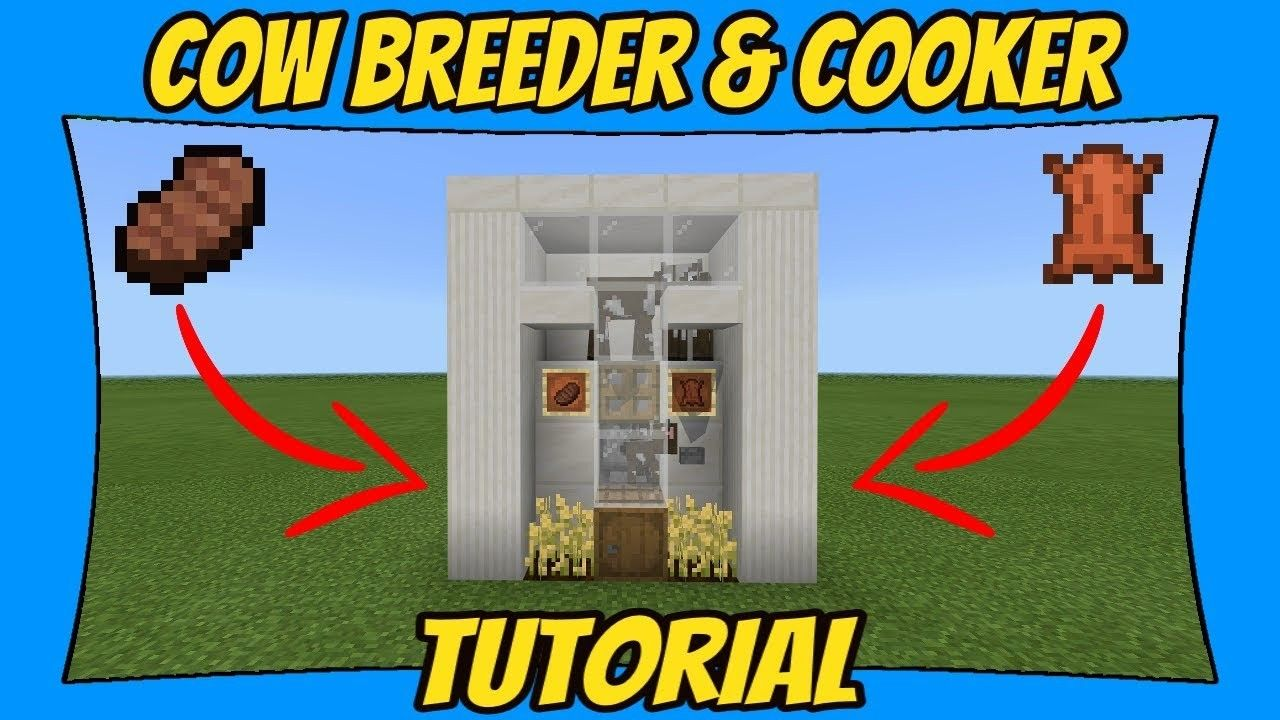 How To Make Pixel Art In Minecraft Bedrock Easy Cow Farm Breeder Cooker Tutorial Minecraft Tutorial Minecraft Creations Minecraft Projects