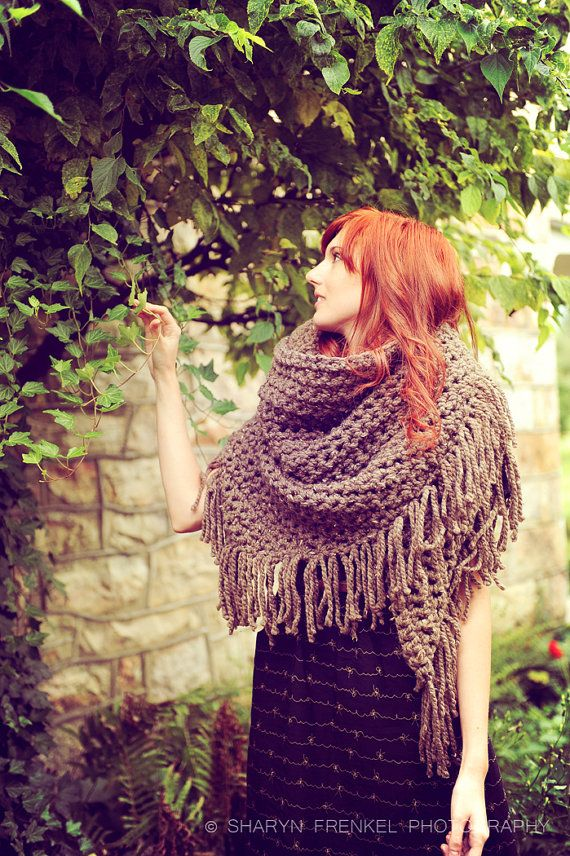 Triangle Shawl Scarf in Oatmeal, Brown, Taupe. janellehaskin via Etsy.