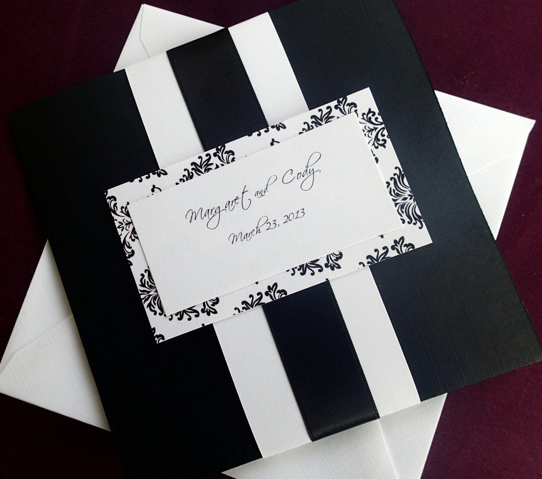 Damask weding invitation, Damask pocket fold invitation, Black and ...