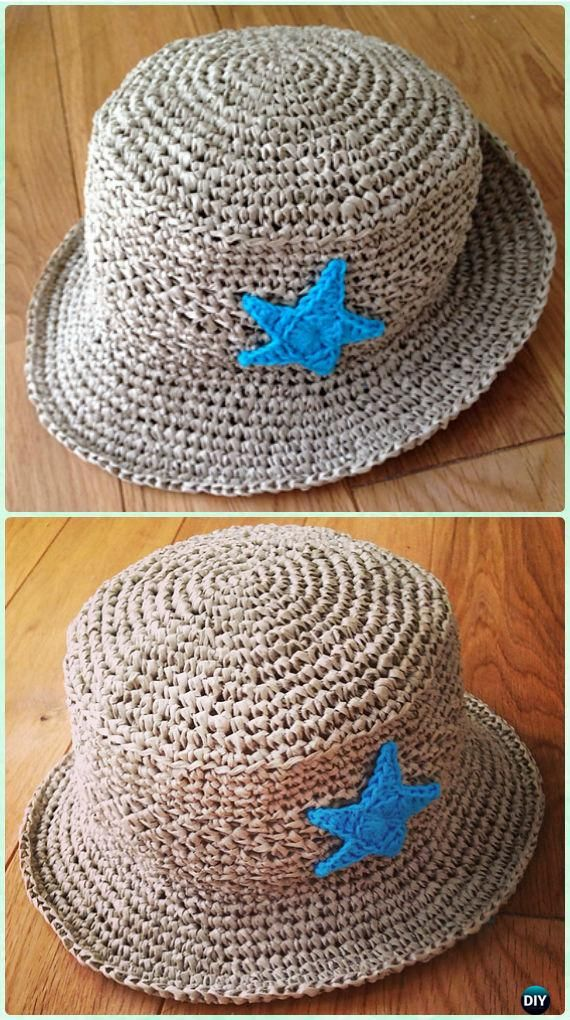 Crochet Kid\'s Brimmed Sun Hat Free Pattern - #Crochet; Boys Sun Hat ...