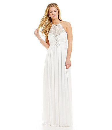 B Darlin High Neck Crystal Illusion Gown #Dillards | Prom Queen ...