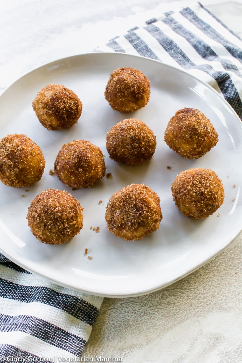 Air Fryer Donut Holes on white black and a black and white