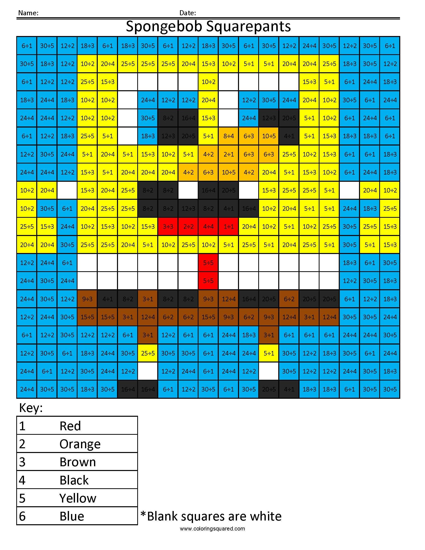 Printable coloring pages with math problems - Who Lives In A Pineapple Under The Sea Spongebob Squarepants Division Coloring Www Math Songsprintable Coloring Sheetscolor