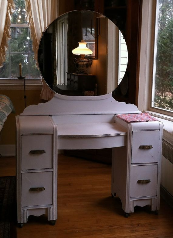 1938 1939 Art Deco Vanity Dressing Table With Round Mirror Shabby Chic  Distressed Aged White