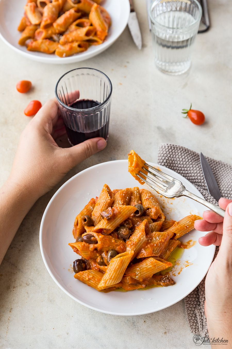 Pasta with tomato sauce guanciale and olives a saveur