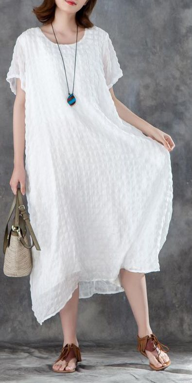 738676f297 linen-blended-sundress-trendy-plus-size-Women-Short-Sleeve-Plain-White- Pullovers-Dress2