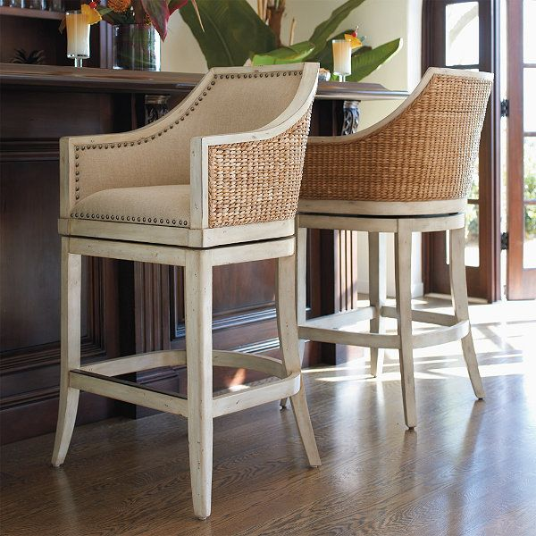 Awesome Seagrass Swivel Bar Stools