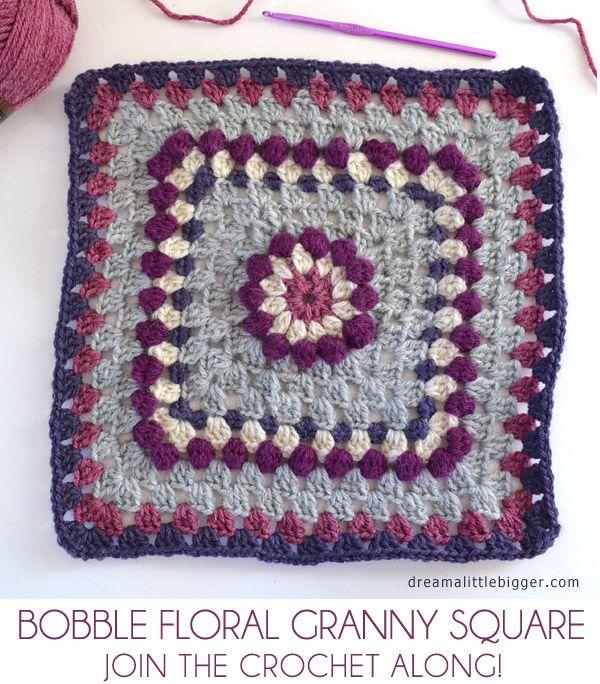 Bobble Floral Granny Square - Afghan Crochet Along | Pinterest