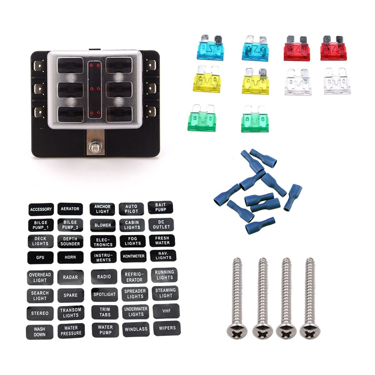 Us1670 32v 6 Way Terminals Circuit Atc Ato Fuse Box Block Holder Us Cover With Led Indicator