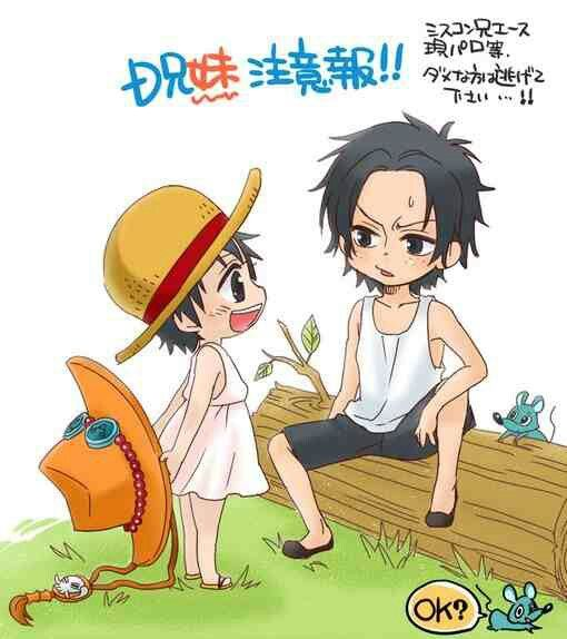 Ace and a female Luffy  Like brother like sister  | one