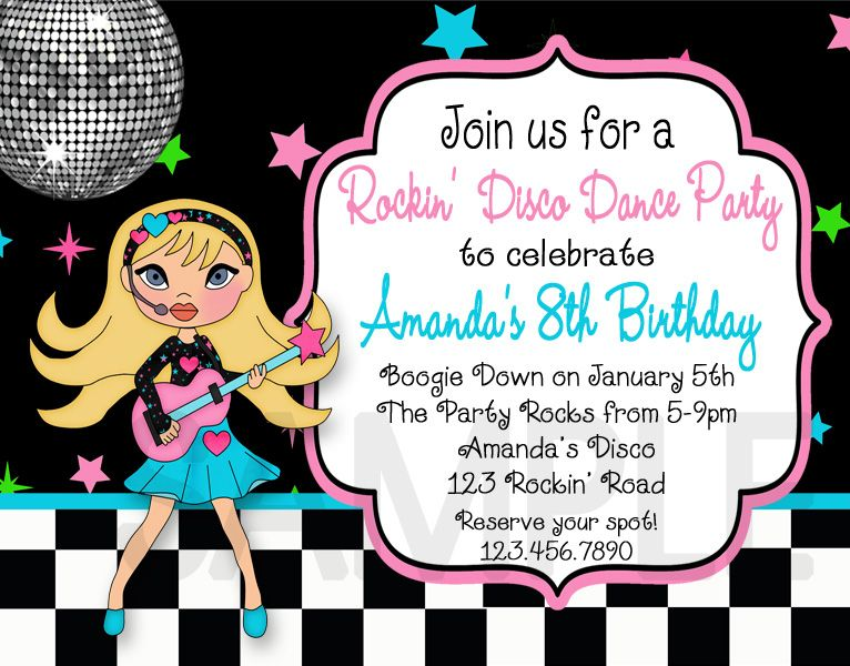 Printable Birthday Invitations Disco Dance Party – Dance Party Invites