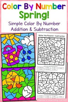 spring color by number worksheets with simple numbers plus addition and subtraction pinterest. Black Bedroom Furniture Sets. Home Design Ideas