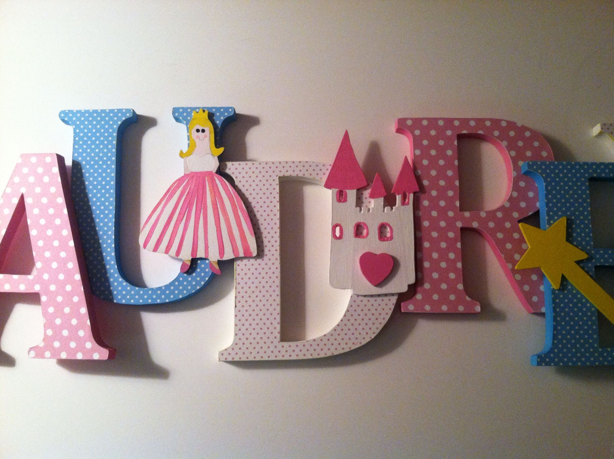 princess themed wooden letters nursery decor from wwwsummeroliviasetsycom