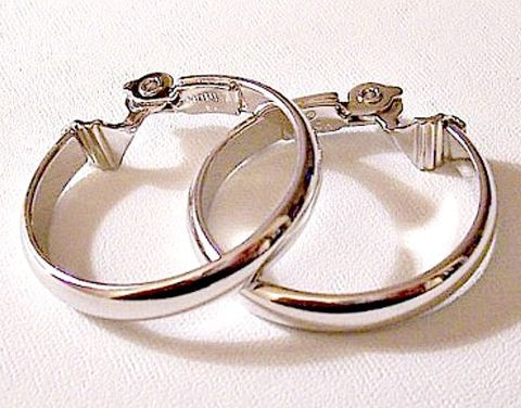 Monet Clip On Hoop Earrings Silver Tone Vintage Large Round Design